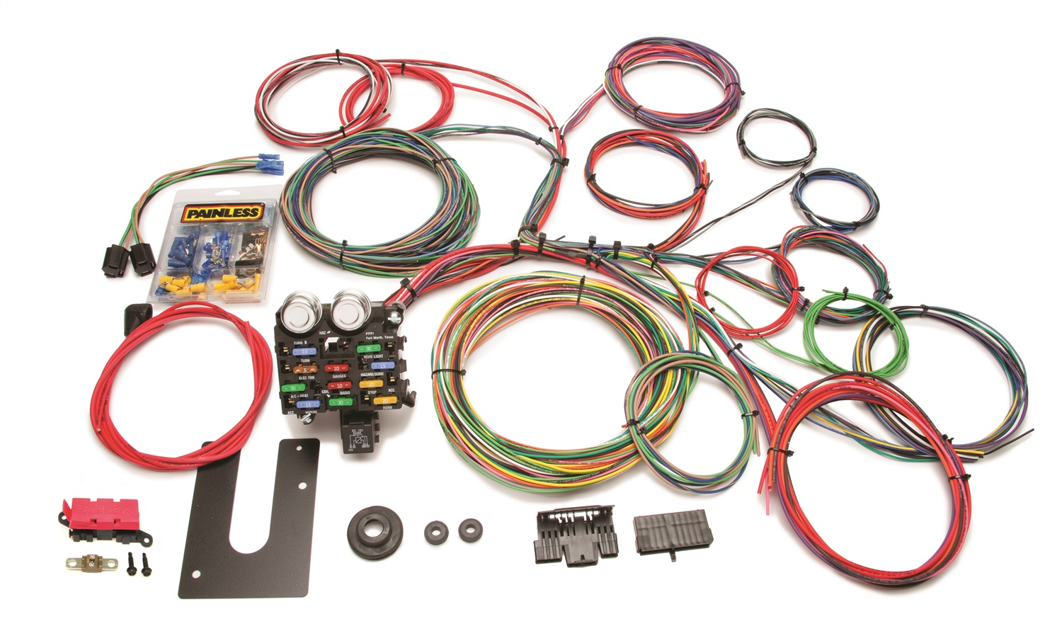 Painless Wiring 10102 21 Circuit Clic Customizable Chis ... on 5.3 vortec swap harness, car harness, duraspark harness, 1972 chevy truck harness, dodge ram injector harness, ford 5.0 fuel injection harness, fuel injector harness, horse team harness, chevy tbi harness, rover series 3 diesel harness, 5 point harness, indestructible dog harness, racing seat harness, bully dog harness, radio harness, electrical harness, painless fuse box, horse driving harness, painless engine harness, front lead dog harness,