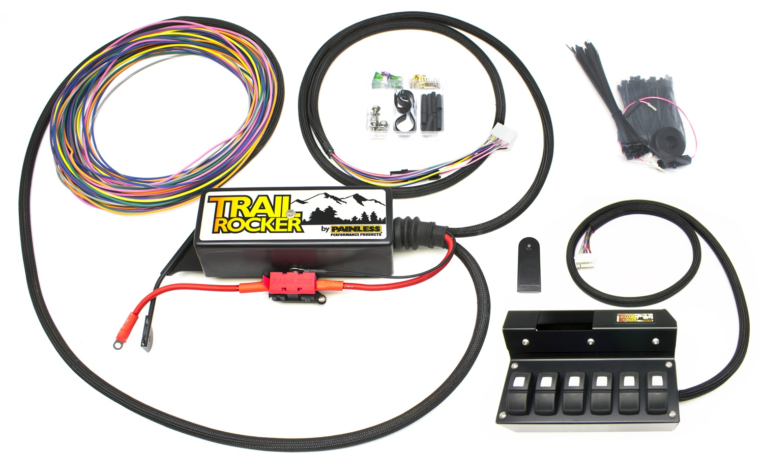 Painless 57004 Trail Rocker System Jeep Wrangler JK 2009-18 w/Overhead 6 Switch Box (W/Auto Dimming Mirror Only)
