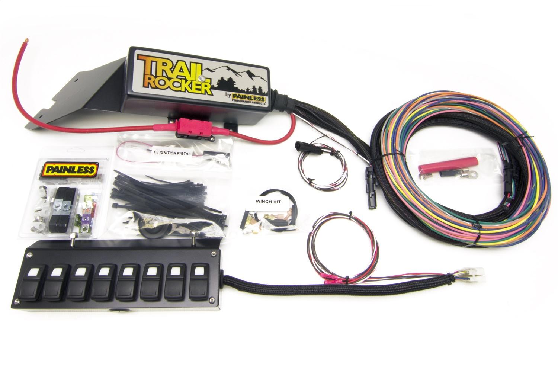 Painless 57023 Trail Rocker System Jeep CJ 1976-86 w/Underdash 8 Switch Box