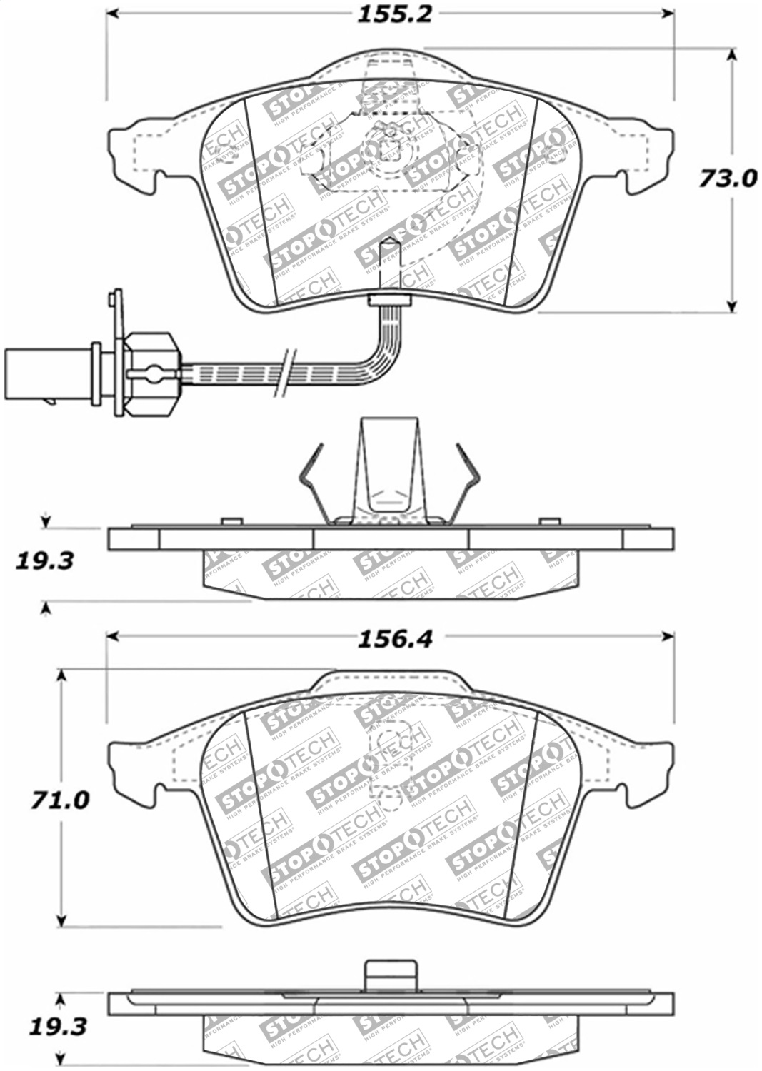 StopTech 305.09160 Street Select Brake Pads with Hardware