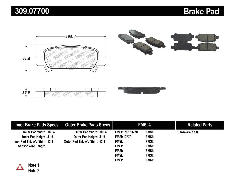 stoptech 309 07700 stoptech sport brake pads