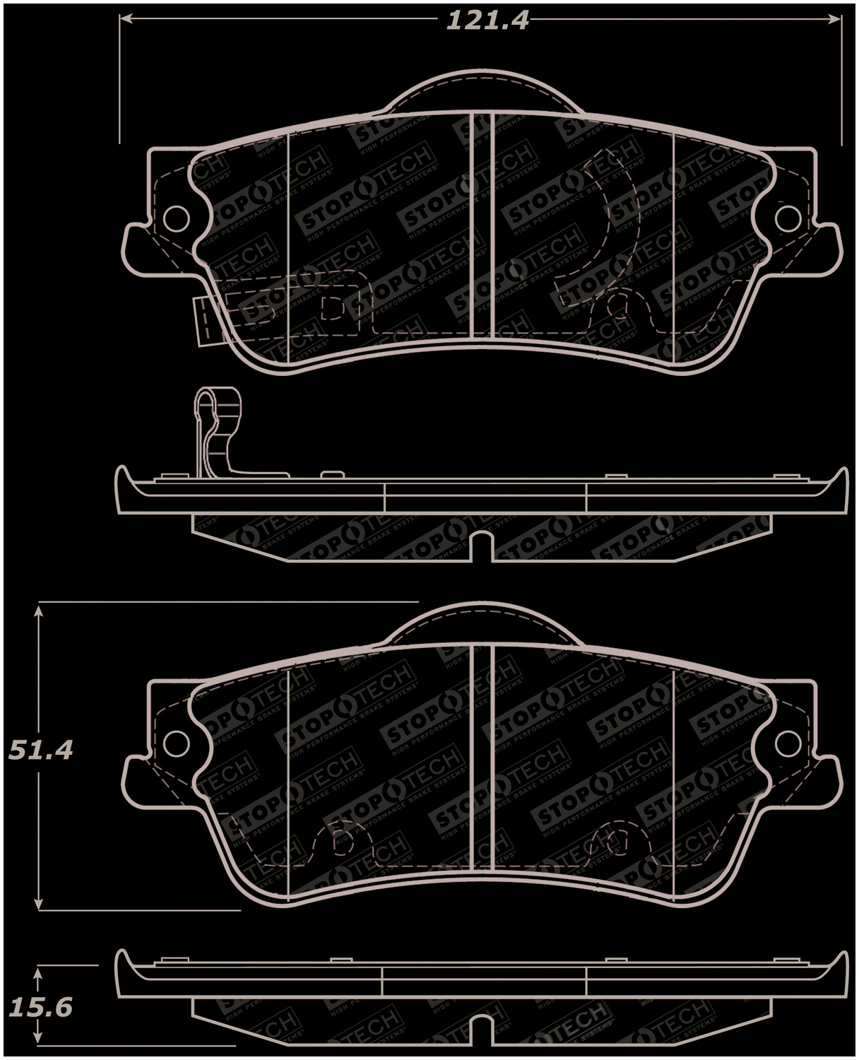 309.14630 FRONT SET Stoptech Street Performance Disc Brake Pads High Friction