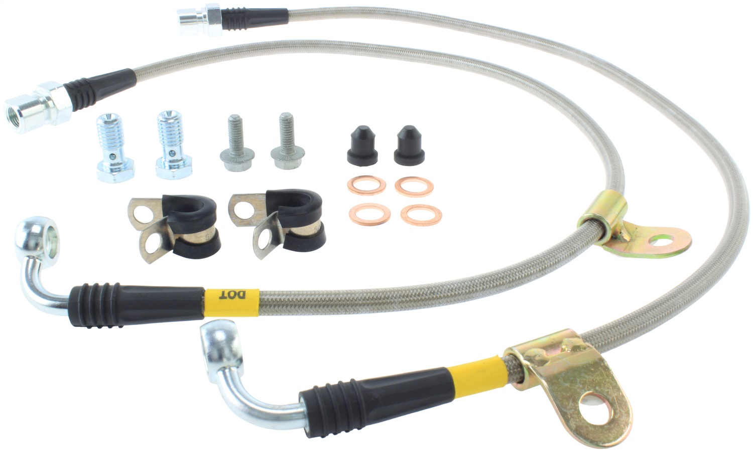 StopTech 950.34005 Stainless Steel Braided Brake Hose Kit Front Stainless Steel Braided Brake Hose Kit