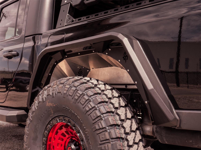 Stealth Fender Liner Body Armor, Rear, Raw Stainless Steel