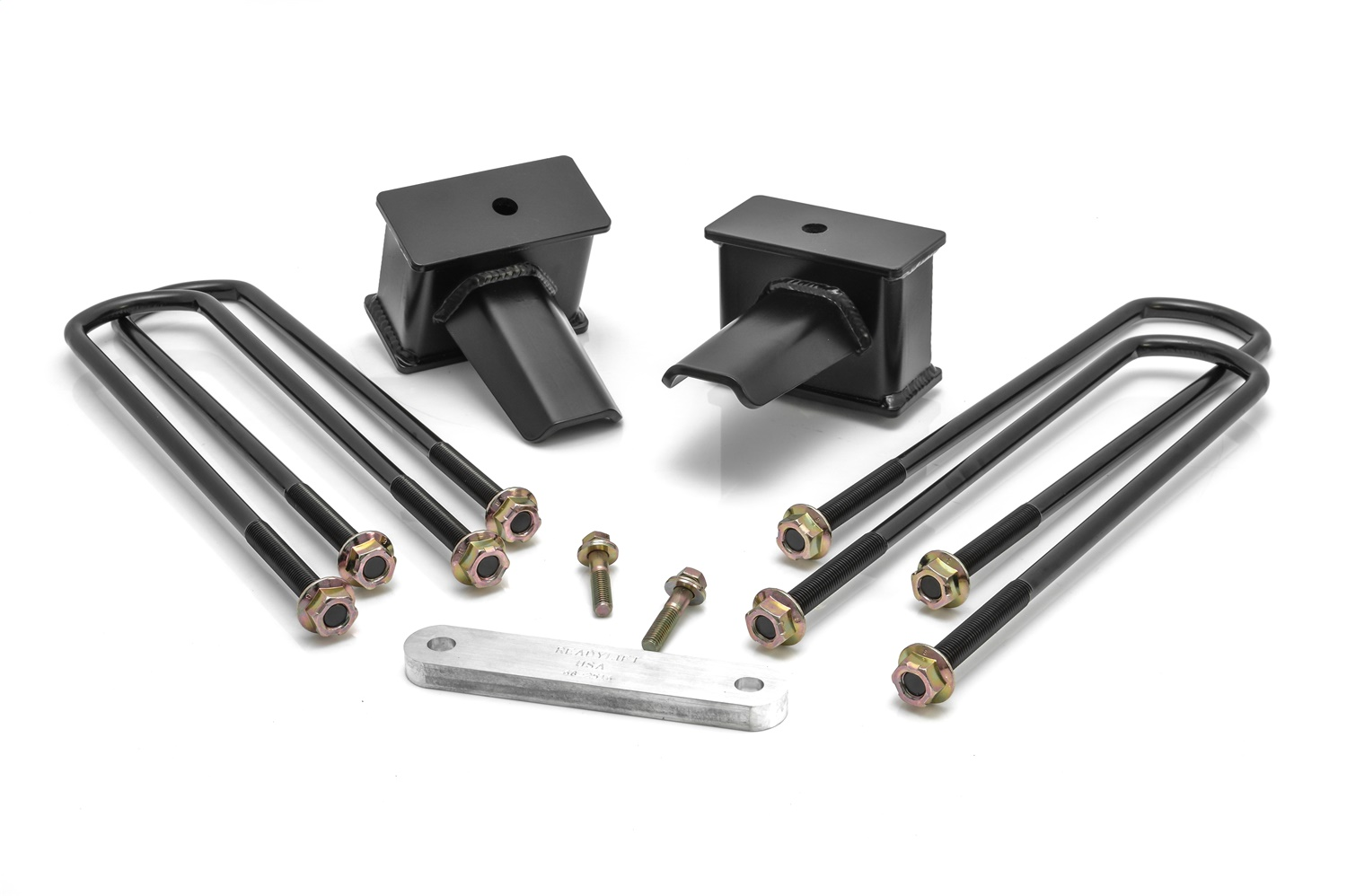 Rear Block Kit, 4 in. Flat Blocks, Incl. Carrier Bearing Spacer, For Vehicles w/2 Pc. Drive Shaft