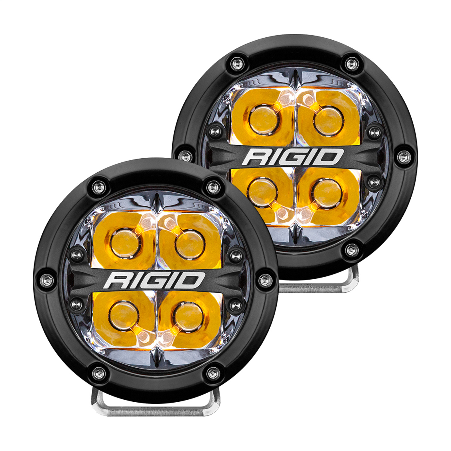 360-Series LED Off-Road Light, 4 in., Spot Beam, For High Speed 50 MPH Plus, Amber Backlight, Pair