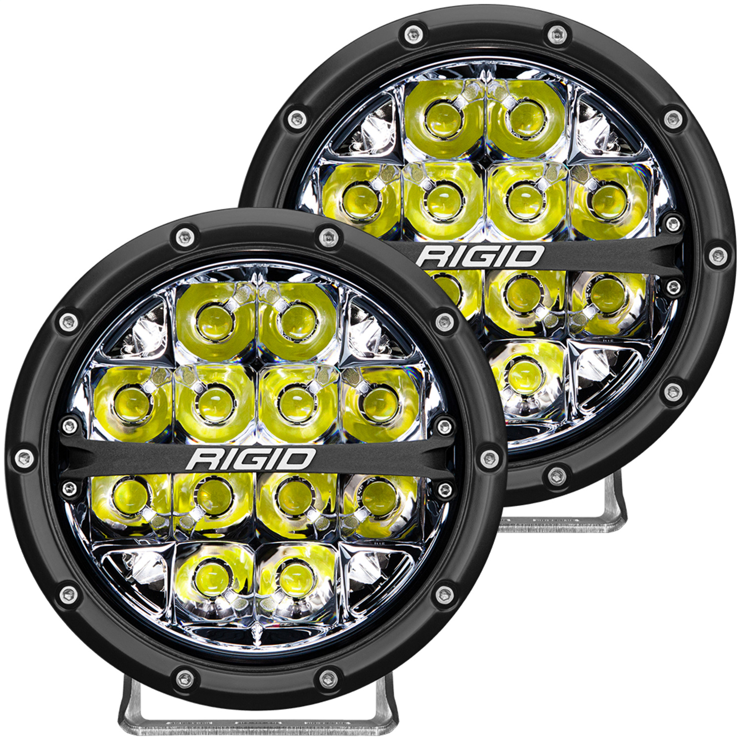 360-Series LED Off-Road Light, 6 in., Spot Beam, For High Speed 50 MPH Plus, White Backlight, Pair