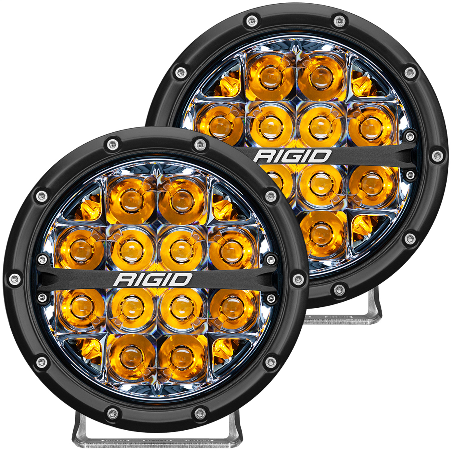 360-Series LED Off-Road Light, 6 in., Spot Beam, For High Speed 50 MPH Plus, Amber Backlight, Pair