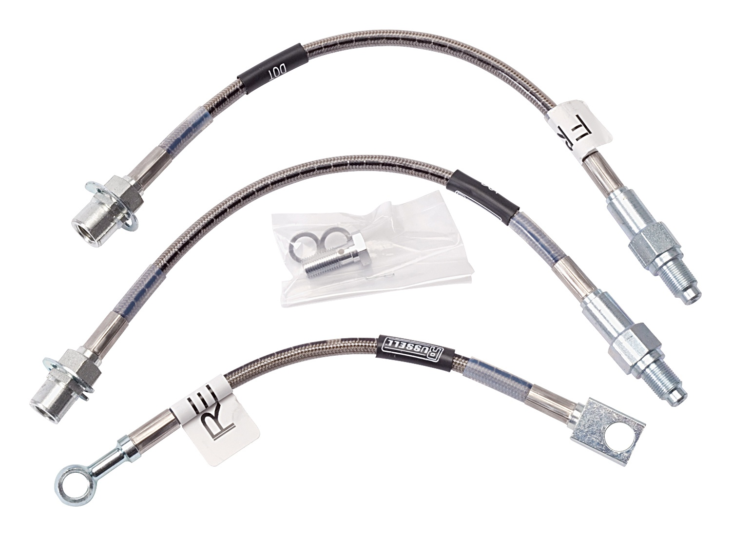 2 Front 96-01 Mustang GT /& V6 Russell Stainless Steel Brake Line Hose Kit DOT