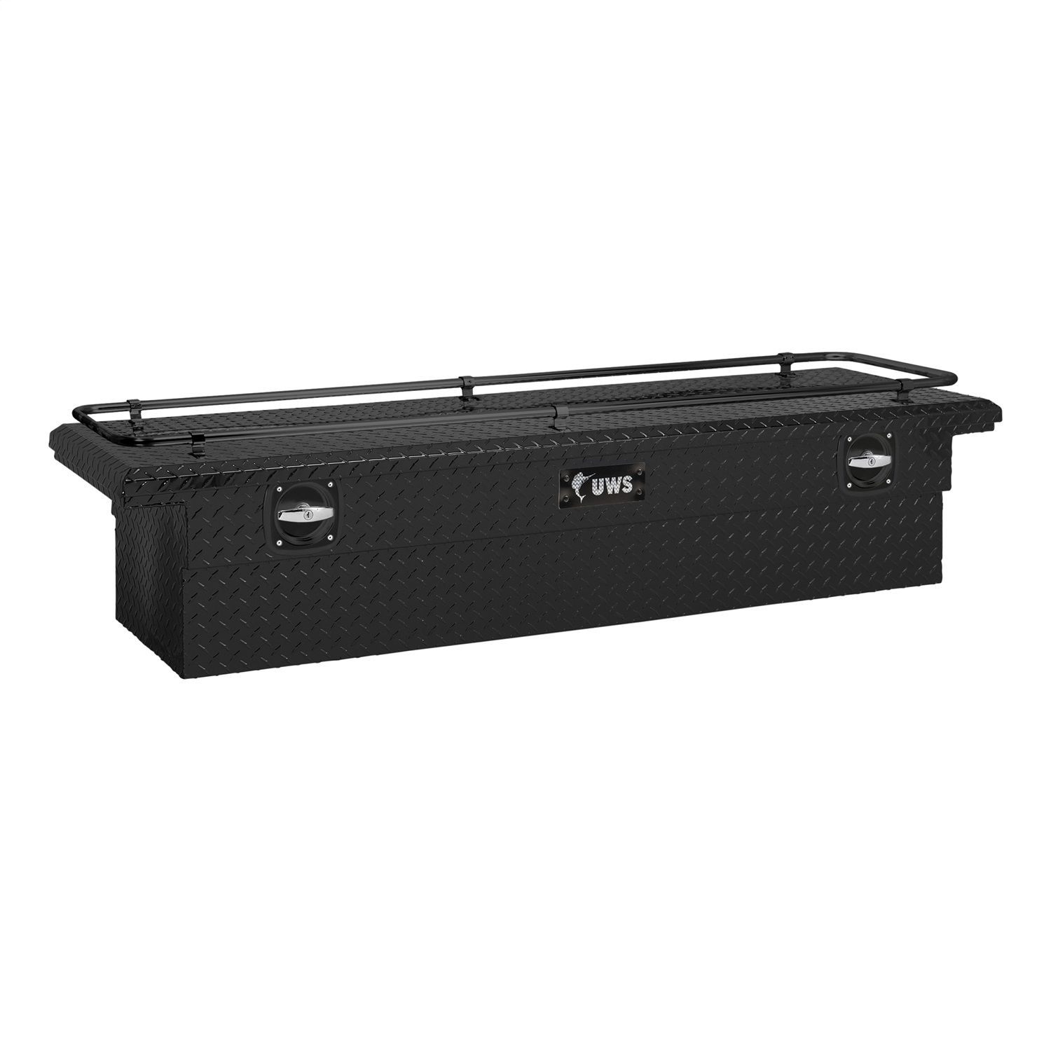 72 in. Secure Lock Single Lid Low Profile Tool Box, Crossover, w/Rail, Matte Black