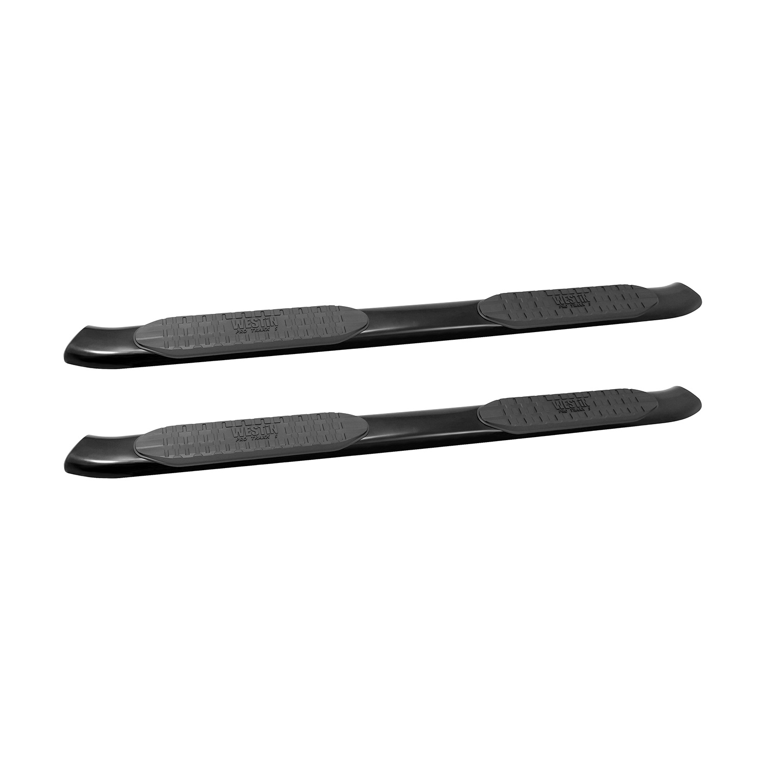 PRO TRAXX 5 Oval Nerf Step Bars, Mount Kit Included, Rocker Panel Mounting, Black Powdercoat Mild Steel, For Double Cab